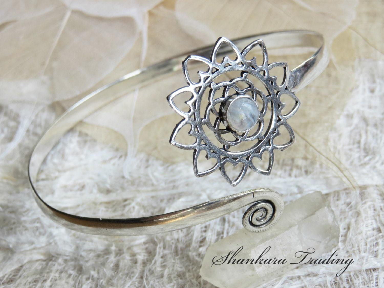 Moonstone Arm Cuff Flower of Life Arm Cuff Adjustable Arm Band Sacred Geometry Jewellery Moonstone Arm Band Shankara Trading Jewellery