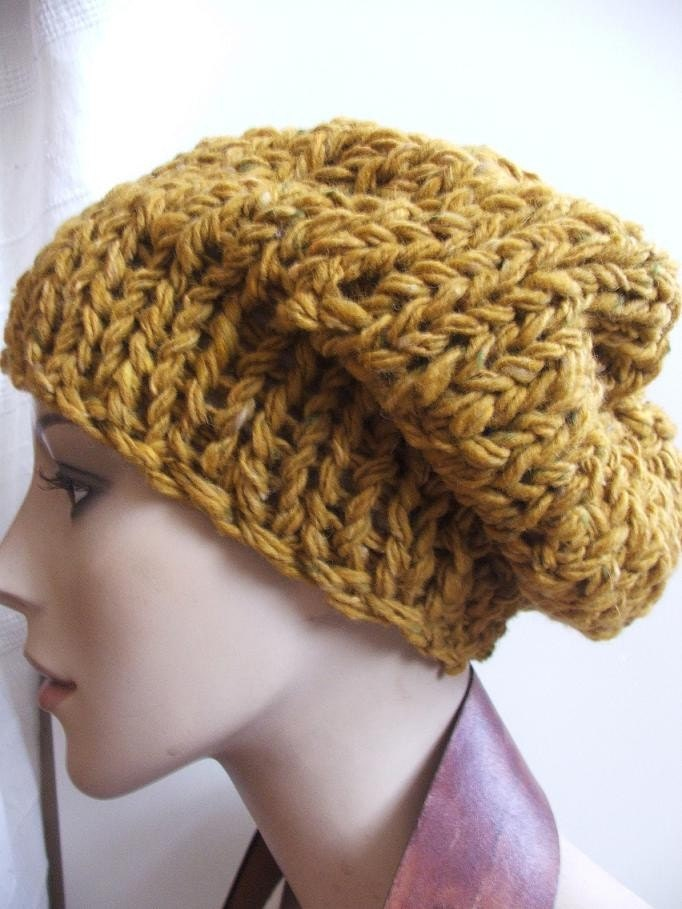 Mustard yellow pure wool chunky hat LAST ONE in this yarn /shade
