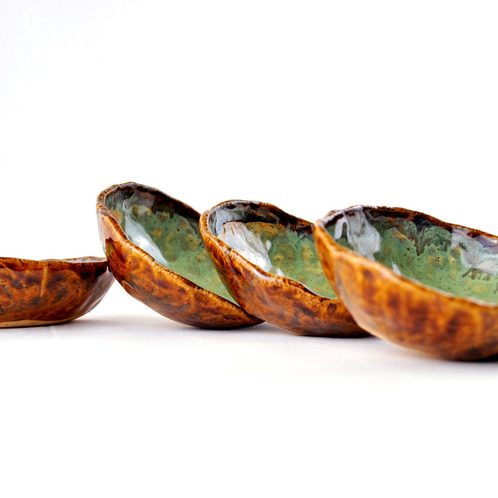 Hobbit Autumn Tea Bowls in Brown and Green (set of 4)