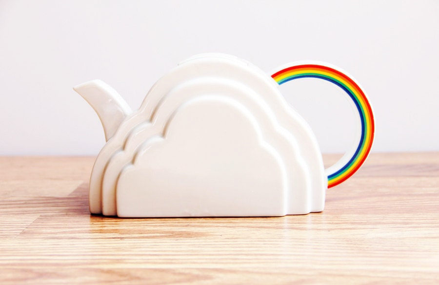 Vintage 1970s Vandor Cloud and Rainbow Teapot / White Modern Collectible Kitchen Accent / Eclectic Vandor Imports San Francisco 1978 - ChapsAndRascal
