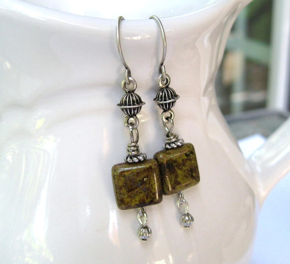 Earrings -- Sweet Glass Square  -Nickel Free