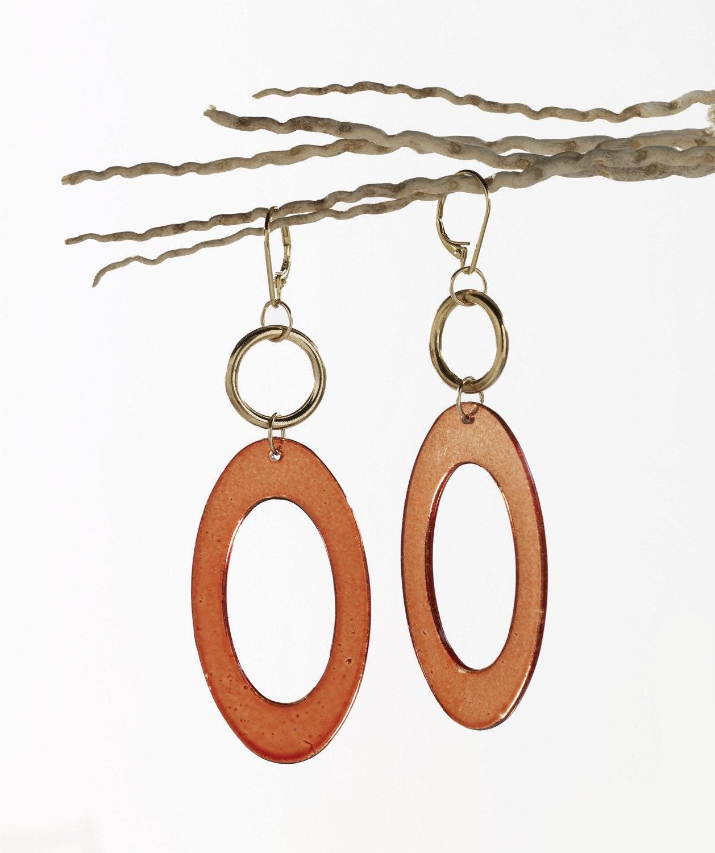 Large Bakelite amber oval earrings