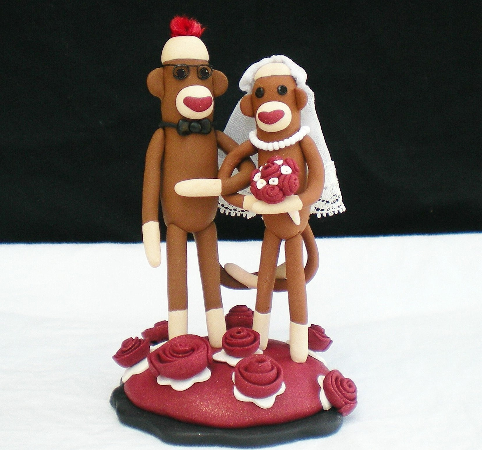 Custom 4 inch Sock Monkey Wedding Cake Topper in Your Colors