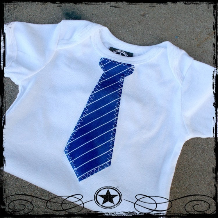 Blue Stripe Tie - White short sleeve - U PICK SIZE