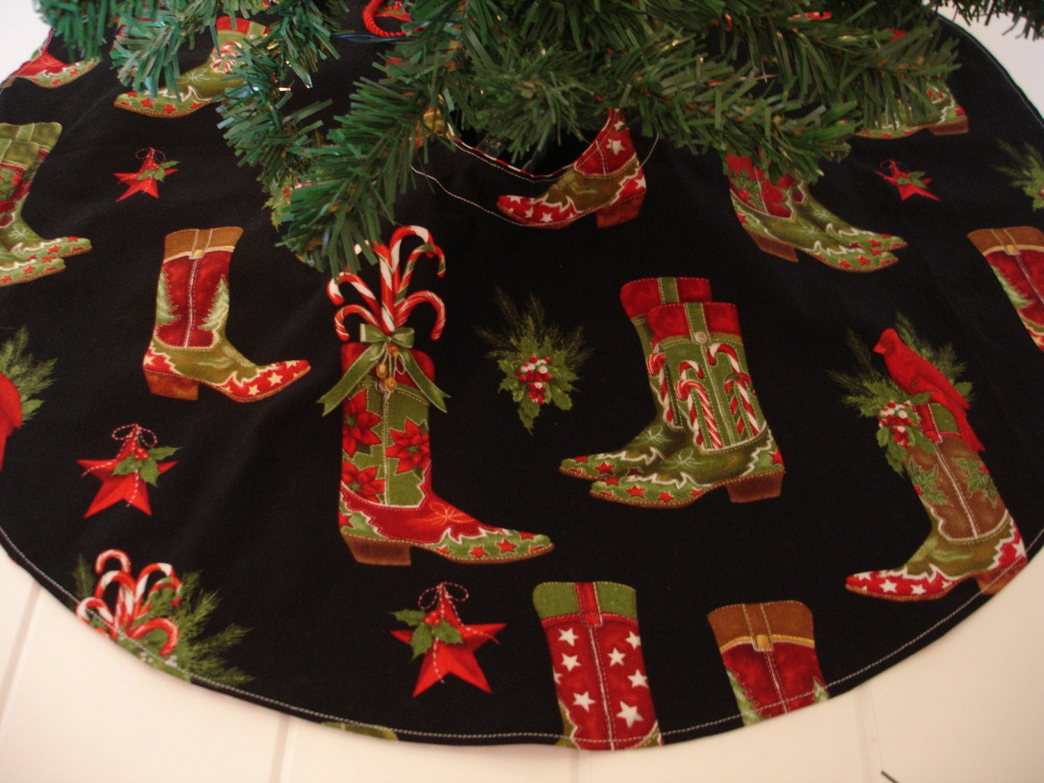 Western christmas tree skirt cowboy boots by