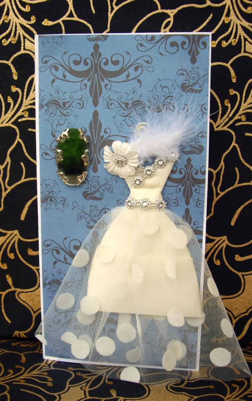 SALE Grace Ivory Personalised Dress Card  / Handmade Greeting Card