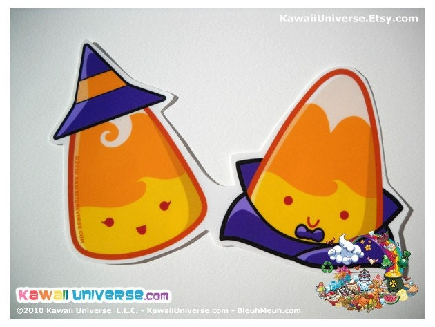 Kawaii Candy Corns Couple Medium Vinyl Sticker Cling