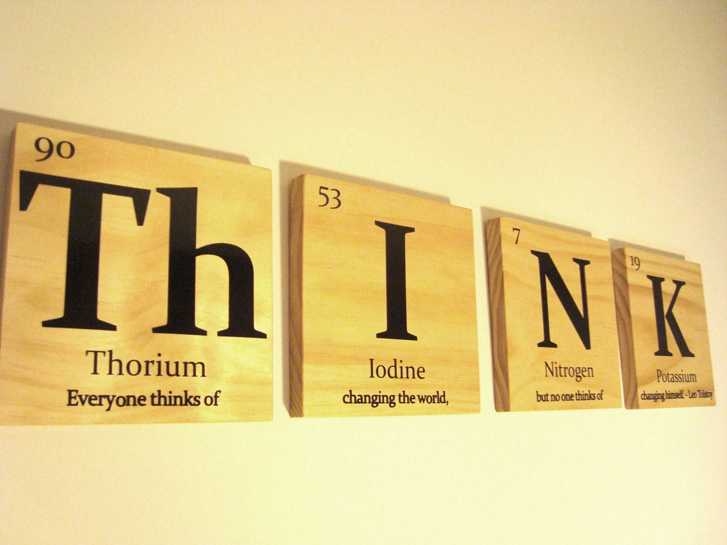 periodic table of elements think wooden tile wall by 15tangerines. Black Bedroom Furniture Sets. Home Design Ideas