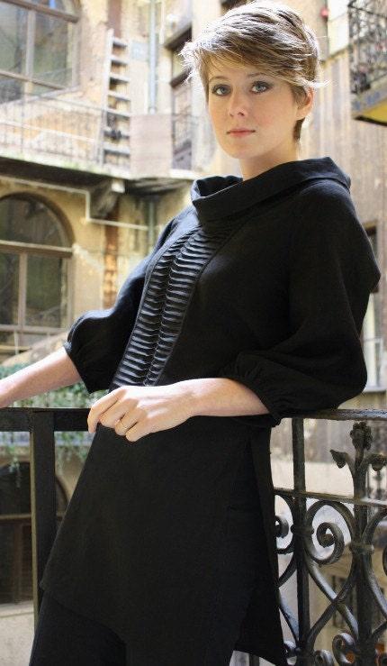 rukkola black linen tunic with pin tucks