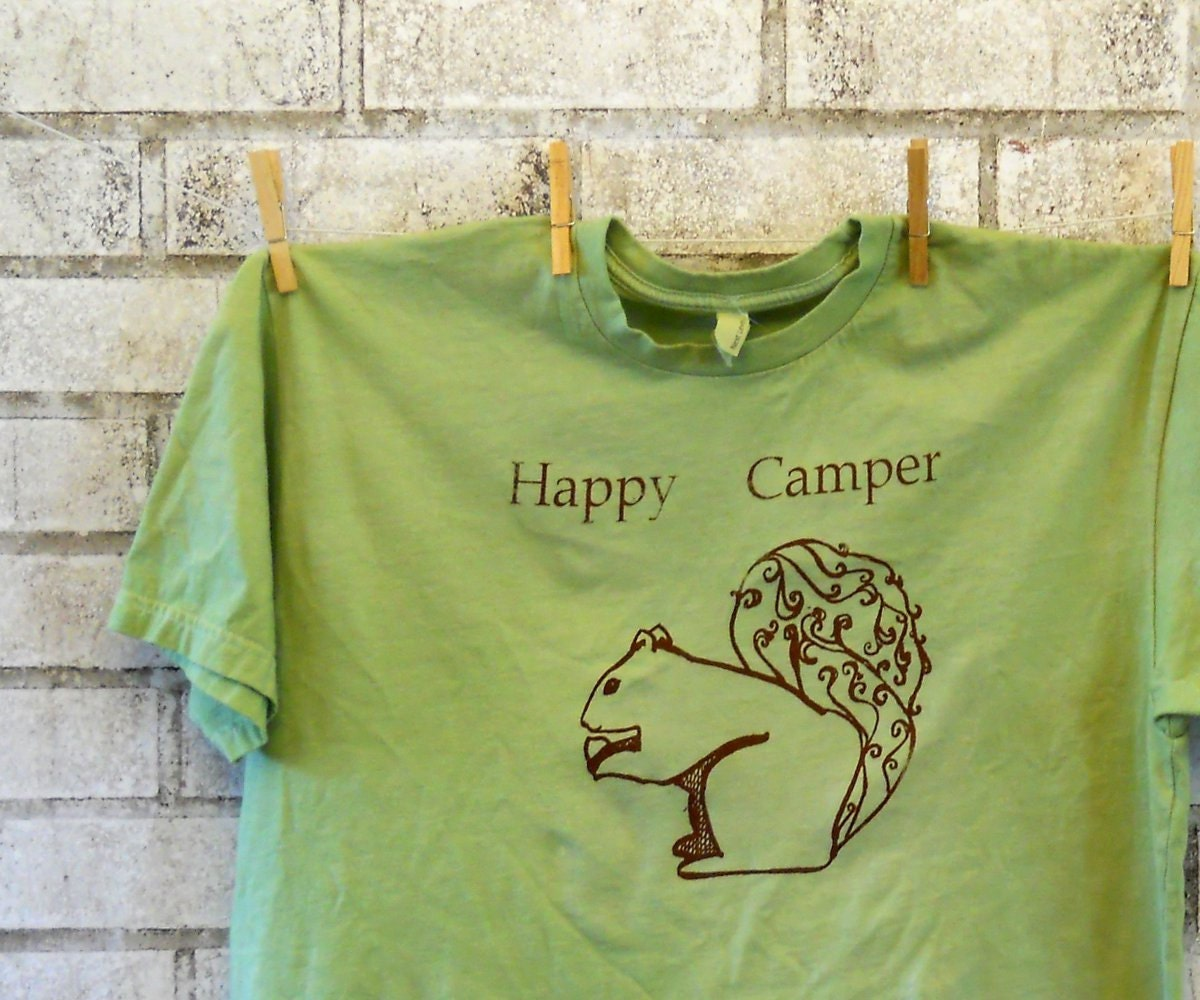 cotton crewneck Men's Happy Camper squirrel  tshirt in brown and apple green or custom colors