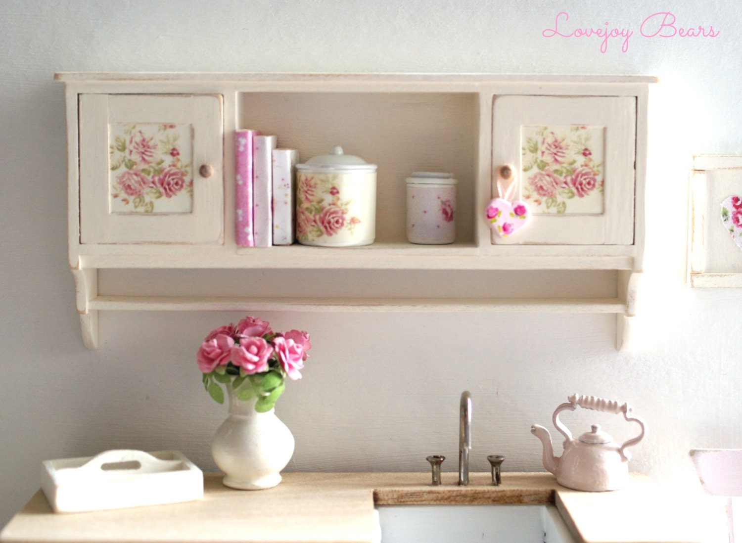 Beautiful shabby chic kitchen wall cupboards with by - Habitaciones shabby chic ...