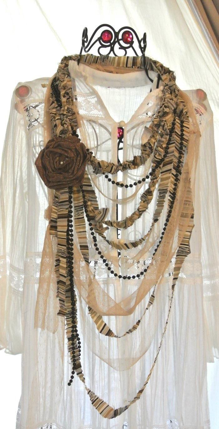 Ecru Веселые Glam Chic заявление ожерелье Валентина Любовь Биб ожерелье потертый шик Шоколад ленты ожерелье Сверкающее Роза Брошь