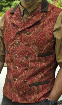 Wedding Groom Victorian Edwardian Western Cowboy Steampunk Linen Vest in Red Rust Gold - SatinShadowDesigns