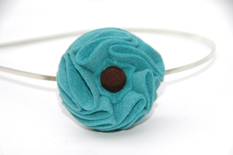 Headband, Girls, Childrens, Wool Felt, Flower, Teal, Turquoise, Aqua, Brown, Button, Autumn, Fall, Blue, Ocean,