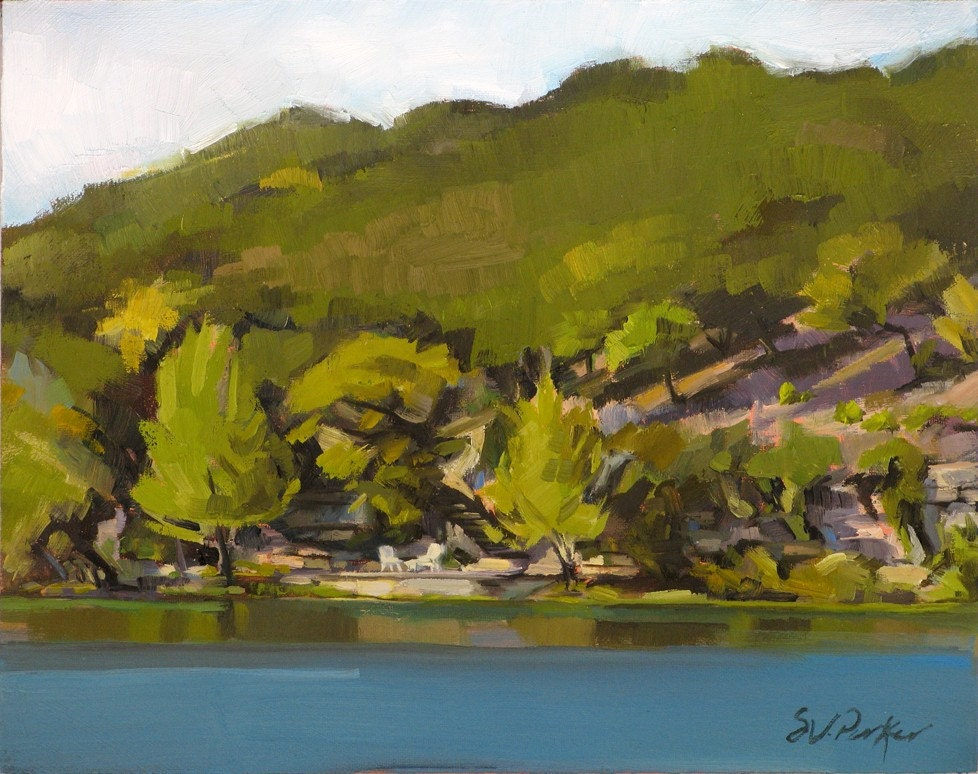 GUADALUPE RIVER, HUNT, TEXAS -- original plein air oil painting