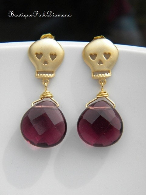 Cute Skull Earrings with Purple Quartz, 16K Gold Plated with Sterling Silver Posts