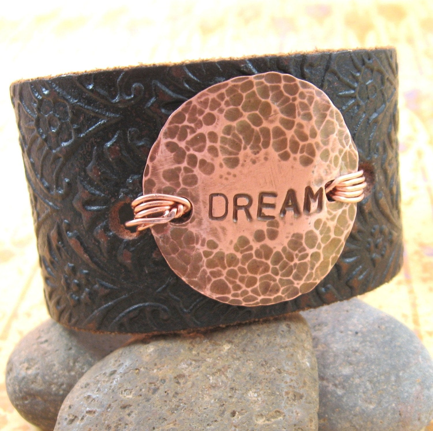 DREAM - Leather Wrist Cuff  with Hammered Copper Medallion - Upcycled - Medium
