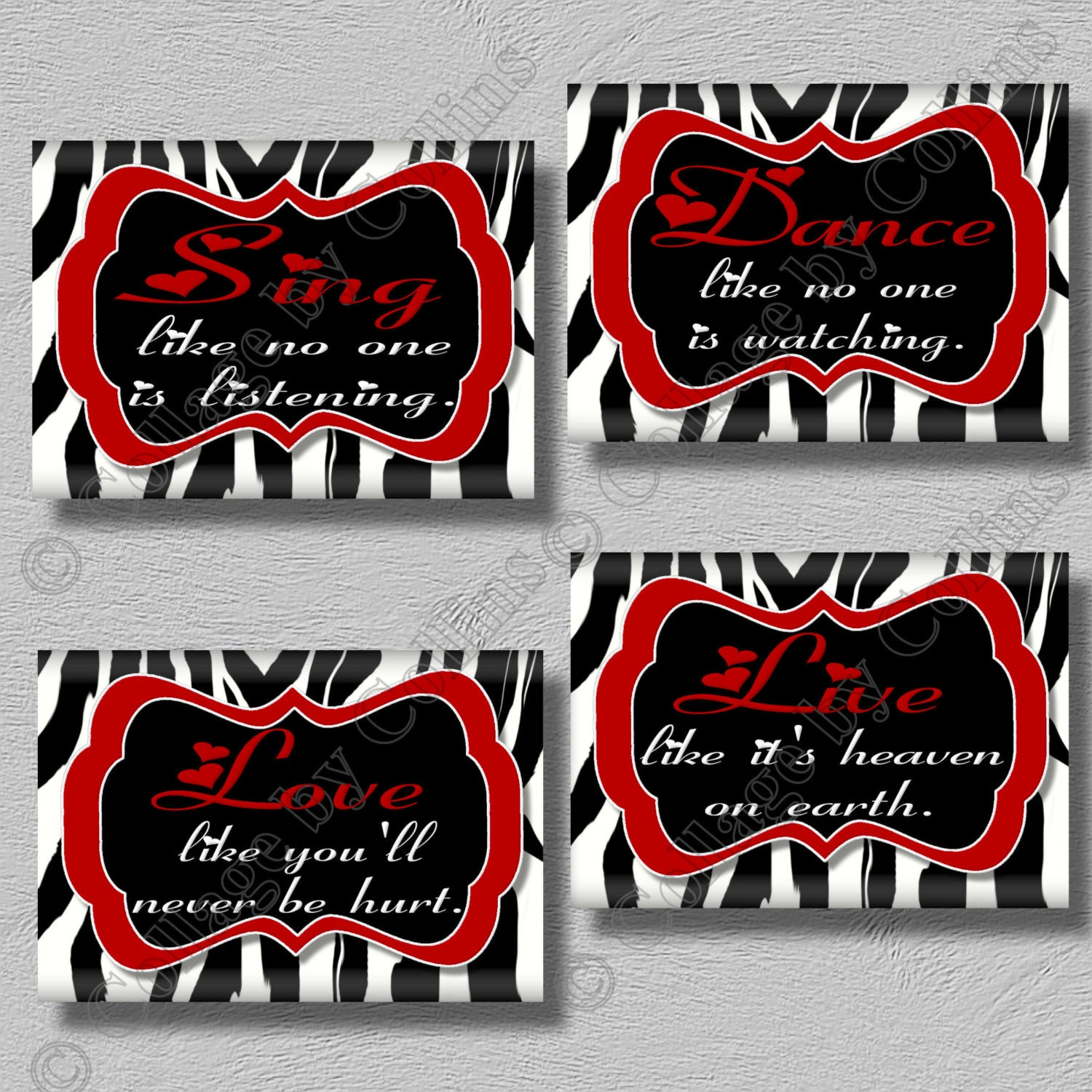 Zebra Print Bathroom Wall Decor : Red zebra print dance sing live love quote art by