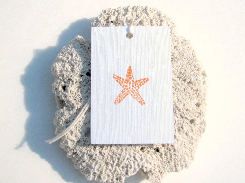 50 Starfish Gift tags/Favor tags. Orange Starfish Tags by KiwiTiniCreations, starfish favors - KiwiTiniCreations