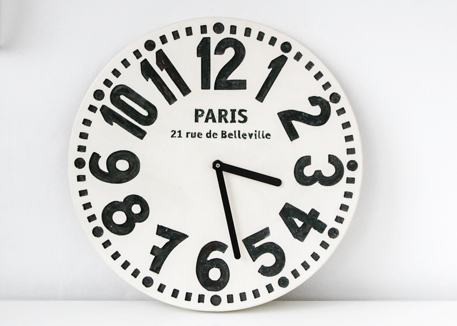 Wall clock -Paris- off white edition shabby chic cottage style birch wood vintage style - DesignAtelierArticle