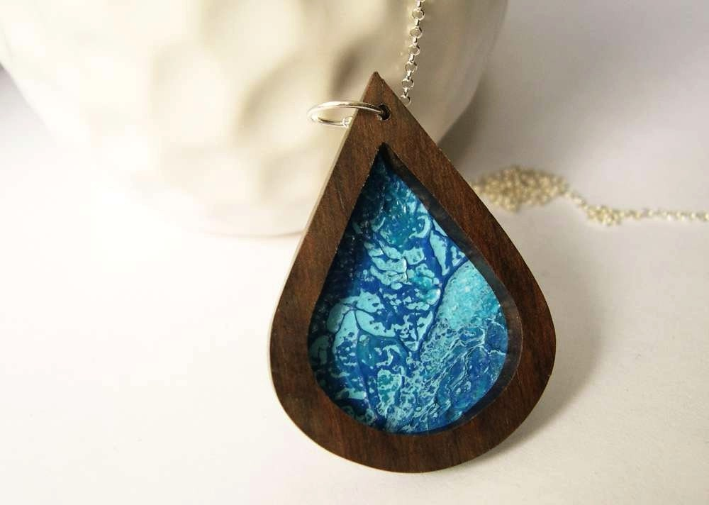 Wood Necklace - Blue Acrylic Painting, Sterling Silver, Pendant, Ebony, Brown, Abstract Art, Teardrop, Jewelry, Jewellery