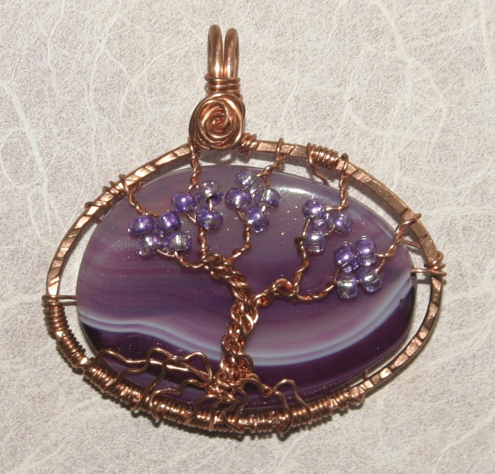 Tree of Life Wire Wrapped Copper Pendant in Purple