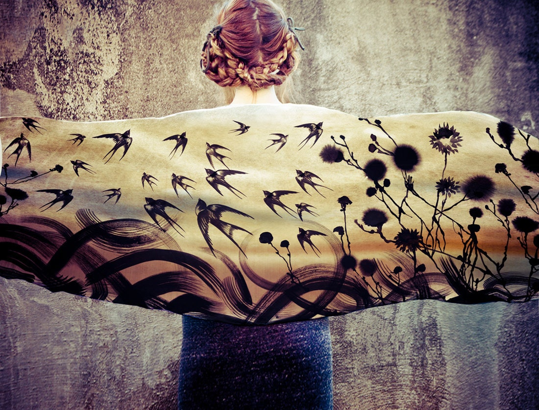 Swallows  Scarf, Hand painted swallows and florals, stunning unique and useful, perfect gift - Shovava