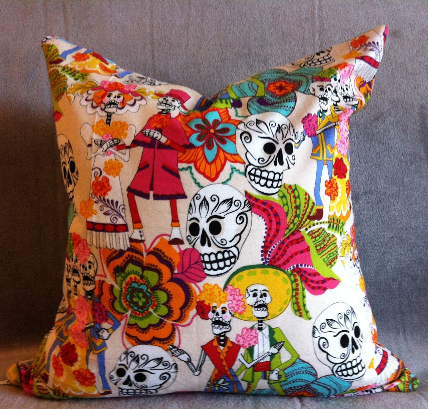 Sugar Skull collection: Day of the Dead Wedding March/Mosaic swirls 16x16 decorative pillow with down insert ...Reserved for Angela