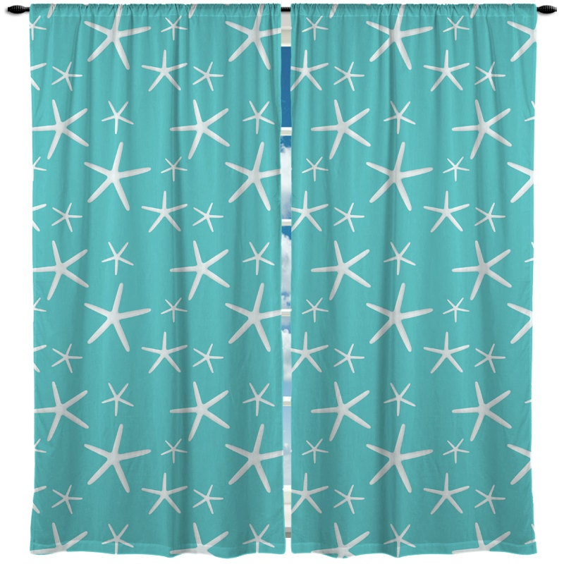 Custom window curtain starfish shown aqua coral or mint any size