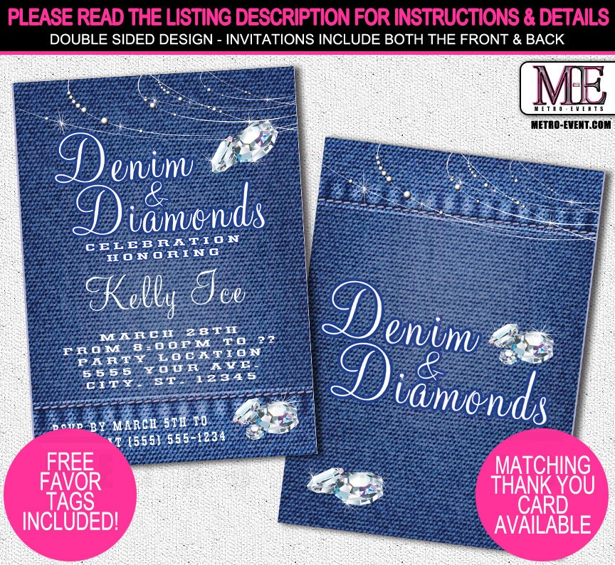 Denim and diamonds party favors