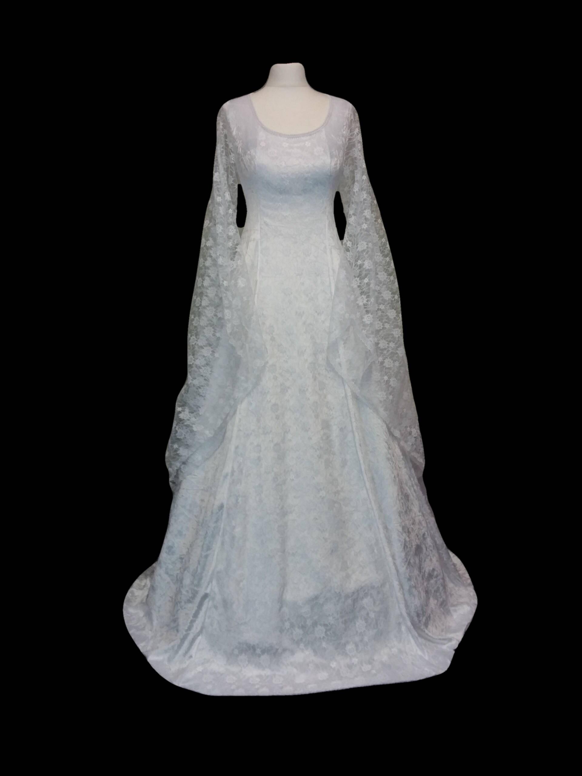 Renaissance dress wedding dress medieval wedding gown Princess gown white lace dress