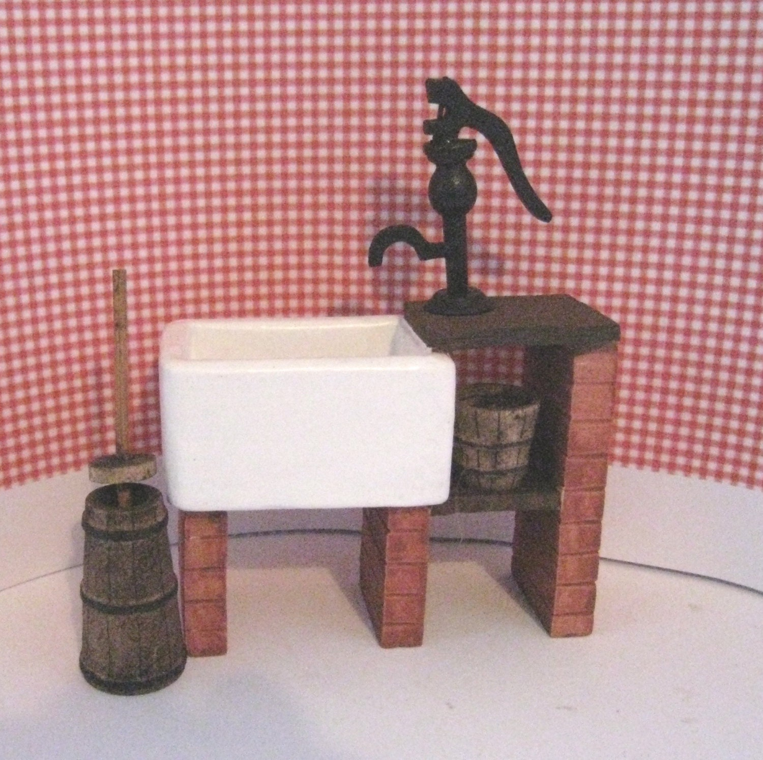 Dollhouse sink Country style sink stone sink kitchen accessories a twelfth scale dollhouse miniature