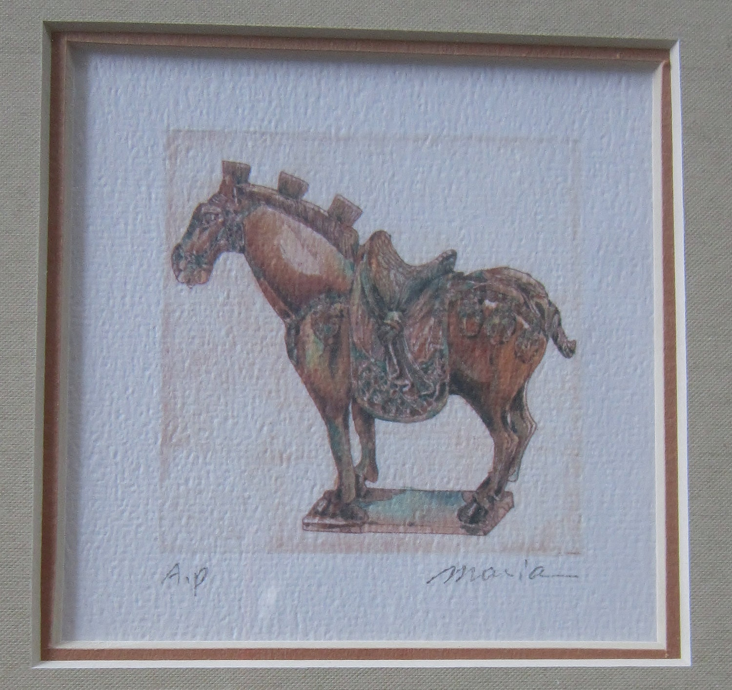 Vintage Asian Tang Horse 895 - Original Frame - Signed by Artsit Hung Ci Yee Moria - VistaChick