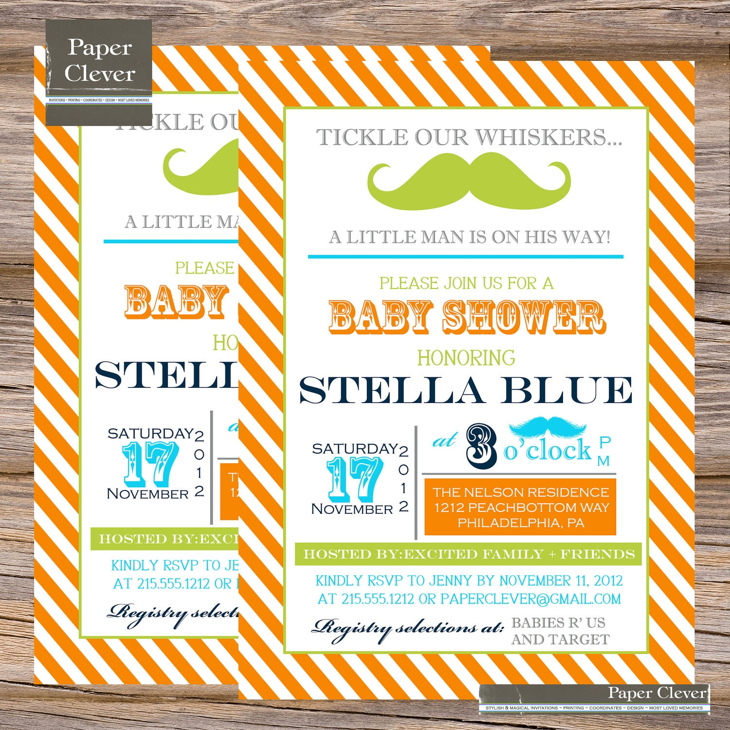 Boys Baby Shower Invitation mustache orange,aqua & lime digital file