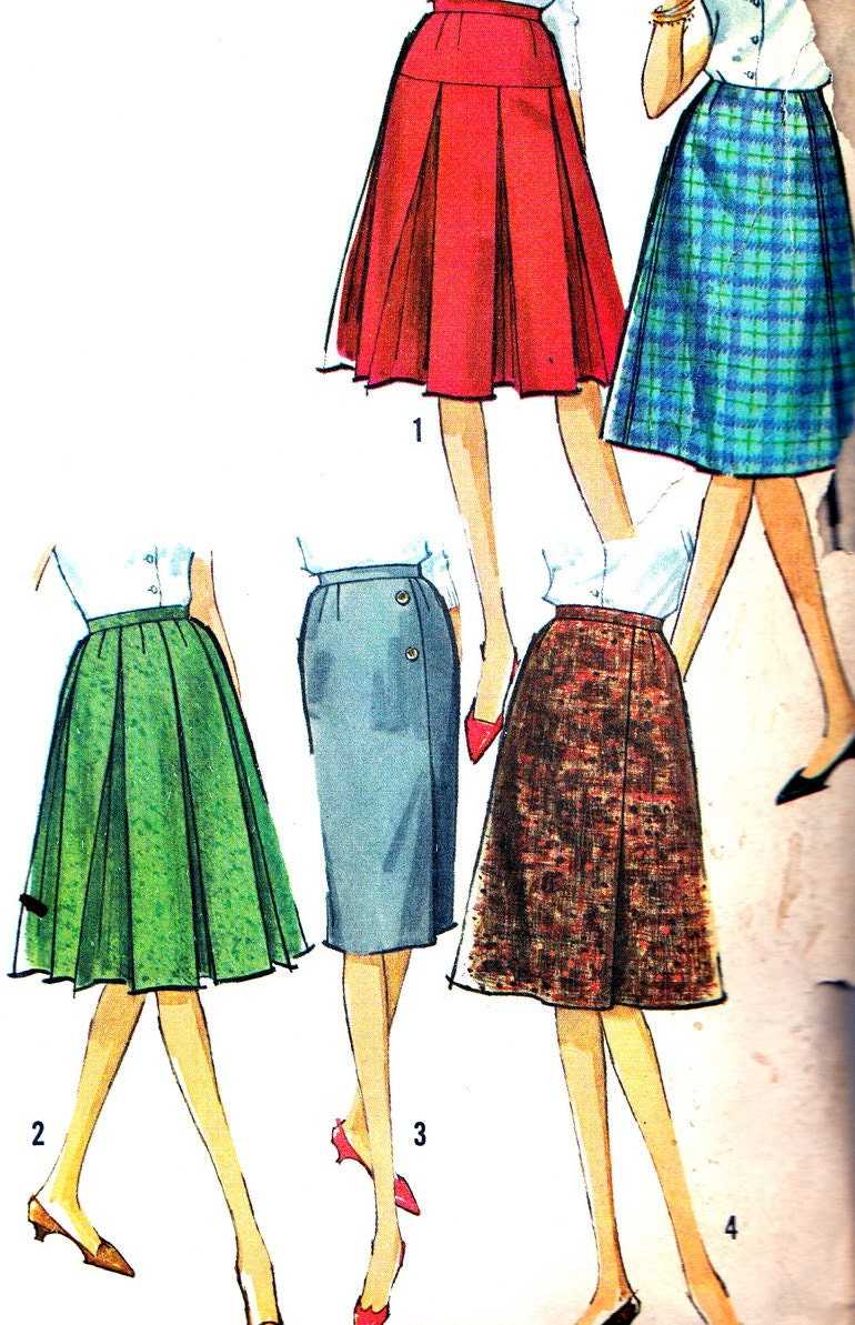 1960s skirt pattern simplicity 5627 box pleat skirt by
