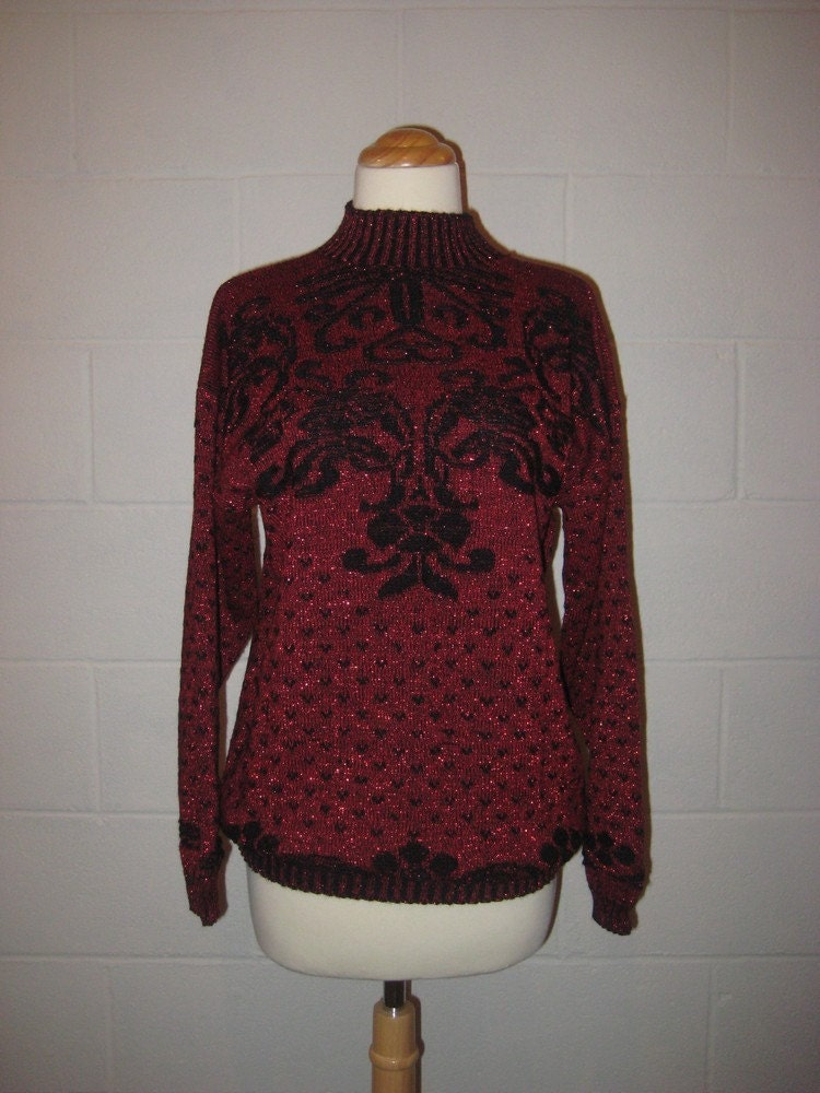 1980s Metallic Sparkle Slouchy Black and Red Sweater
