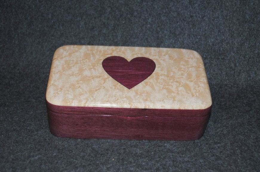 Inlaid Heart on a Bird's Eye Maple Topped Purple Heart Treasure Box
