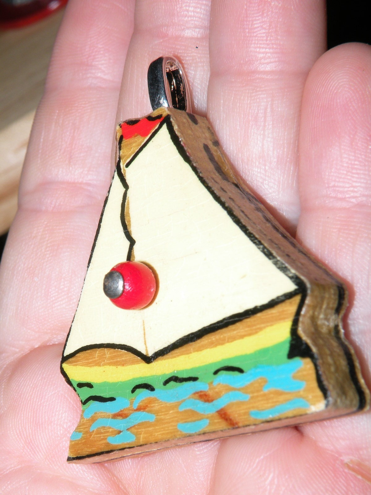 SAILBOAT - Upcycled Vintage Puzzle PENDANT SAIL BOAT - retro Cape Cod with silver bail