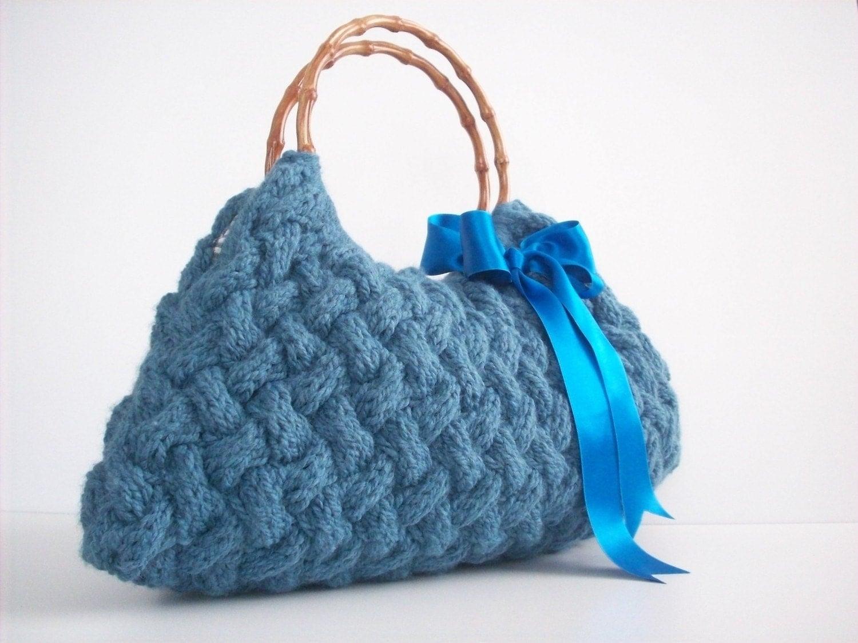 دستباف NzLbags -- کیف دستی -- شانه بگ -- بگ روزمره -- آبی Knitted Nr -- 088