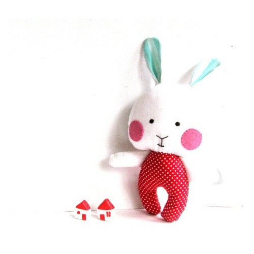 Bunny toy rabbit toy stuffed bunny stuffed animal soft toy rag doll stuffed toy stuffed rabbit softie red turquoise blue white 31 cm 12""
