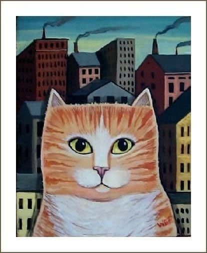 CITY CAT Urban Kitty FOLK ART PRINT Wendy Presseisen MODERN CAT POSTER Fun Feline ART