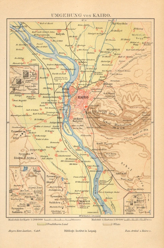 1890 Original Antique Map of Cairo and its Surroundings, the Pyramids, Sakkara, Memphis, Egypt - CabinetOfTreasures