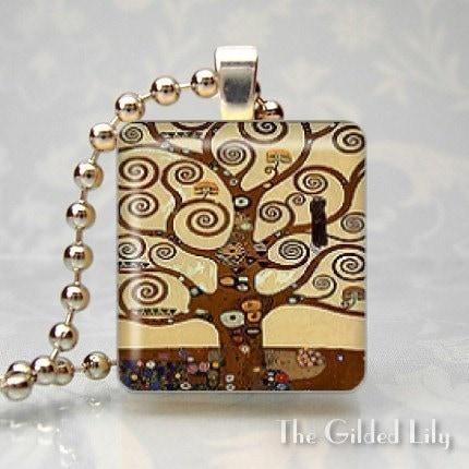 tree of life klimt. TREE OF LIFE - KLIMT - Scrabble Tile Pendant - (Style N7)