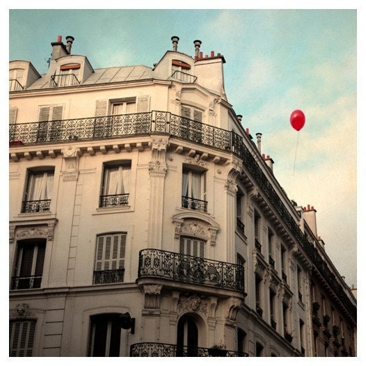 Paris Photograph - Balloon Photograph - French Photography - Red Balloon - Signed Fine Art Photograph- Le Ballon Rouge - Alicia Bock