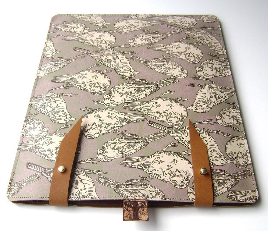 Leather iPad case- Sparrow/Leaf