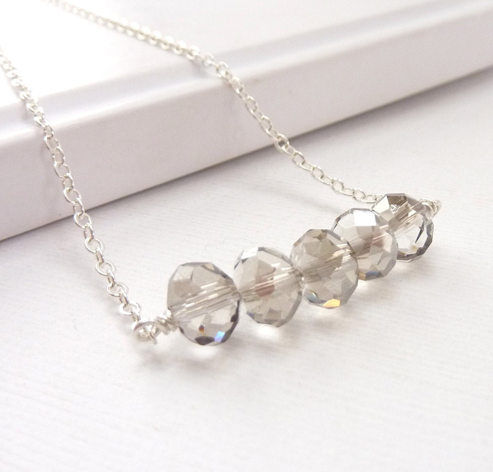 Crystal Sterling Carrie Necklace Faux Diamond Palest Gray