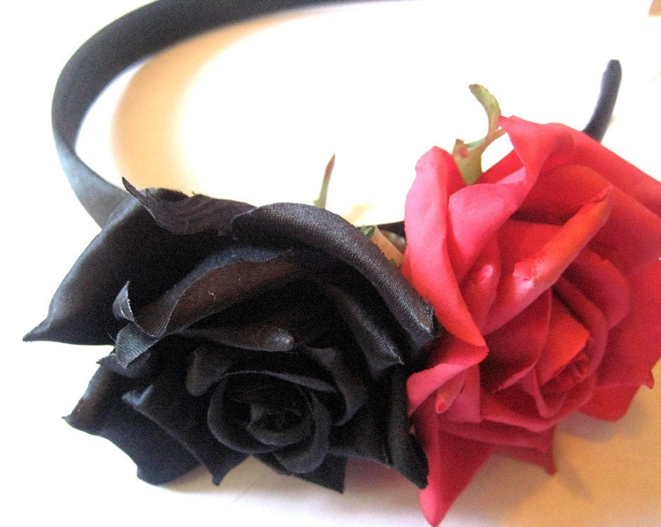 floral BLACK and hot pink rose flower headband by elasticwasteland from etsy.com