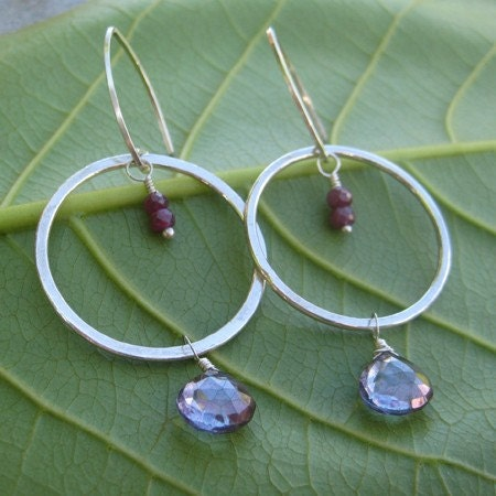 Mystic Topaz Hammered Hoop Earrings with India Ruby Accents