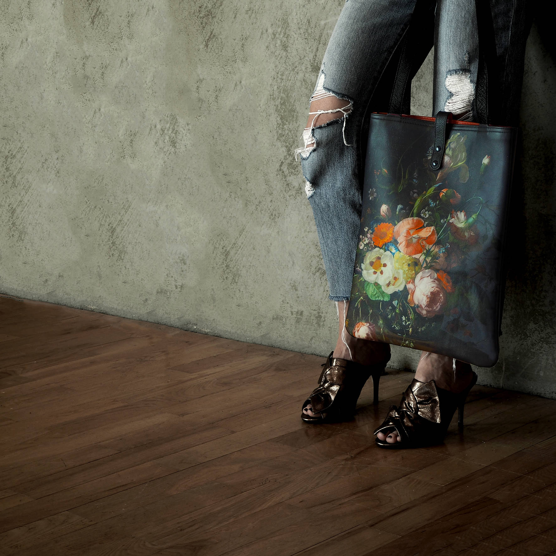 Leather Tote Bag  Laptop bag  shopper  Floral Il Mazzetto Print