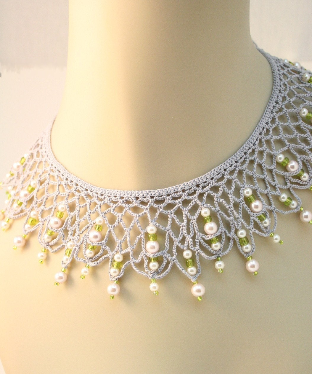 Crochet and Silver Bead Necklace